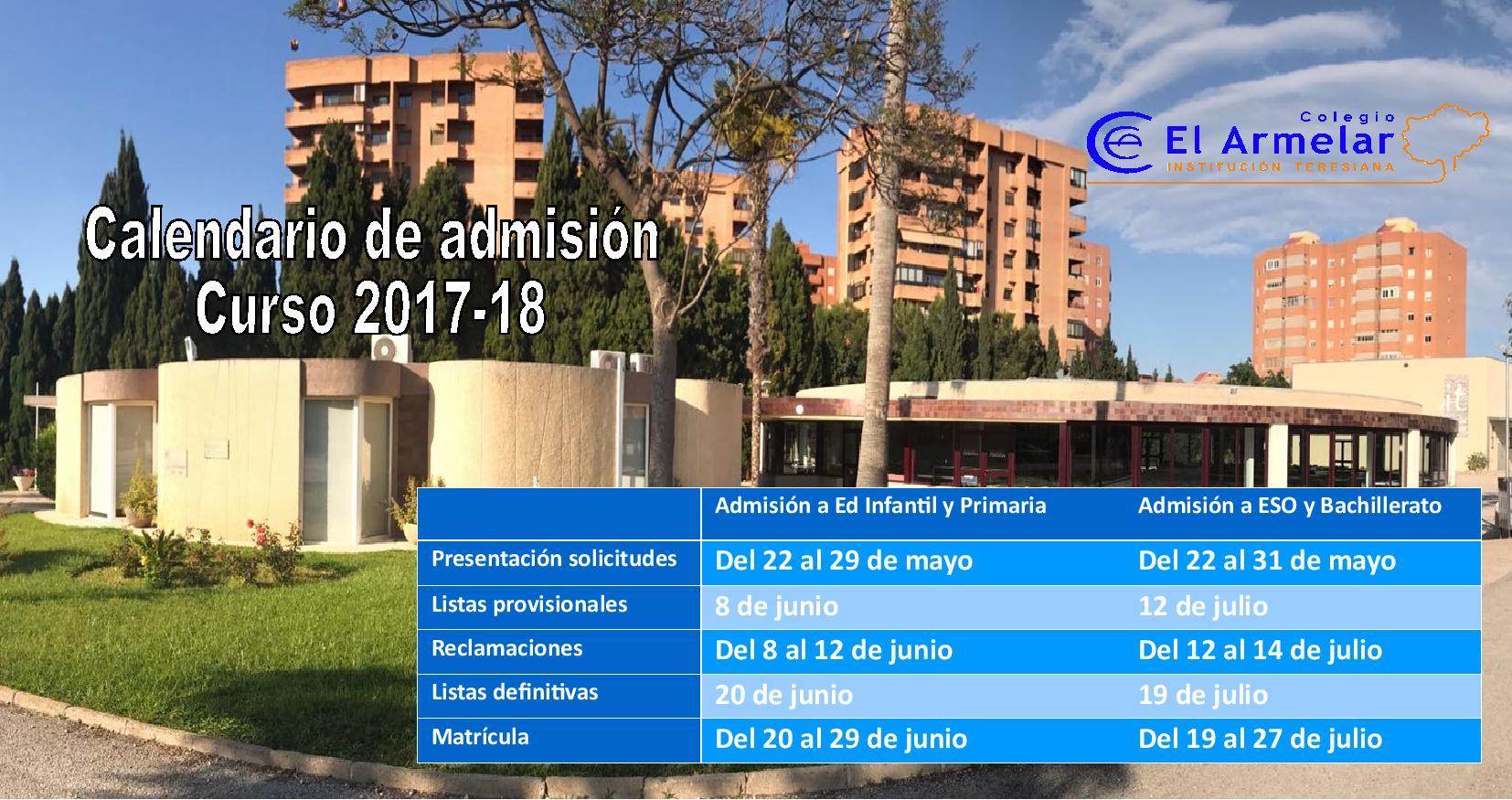 Colegio El Armelar - Calendario Matriculación 17-18